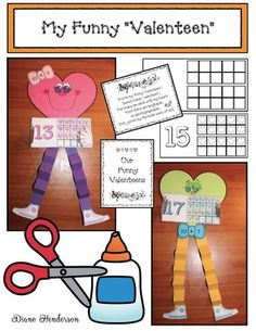 """Valentine activities: """"My Funny 'Valenteen'"""" Adorable, silly heart people (valenteens) practice those toughie teen numbers! Packet includes blank 10 frames as well so you can do numbers as well. PK kiddos can simply make the craft. Valentine Songs, My Funny Valentine, Little Valentine, Valentines Day Activities, Valentine Day Crafts, Holiday Crafts, Alphabet Activities, Math Activities, Teen Numbers"""