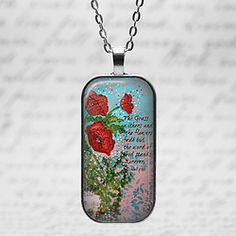 Domino Jewelry Pendant Poppies from original painting