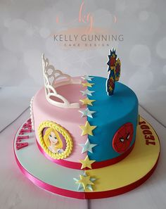 For the love of Princess Birthday Party Ideas for 6 year-olds Half Birthday Cakes, Elegant Birthday Cakes, Superhero Birthday Cake, Birthday Cake For Twins, Sibling Birthday Parties, Joint Birthday Parties, Fondant Cake Designs, Twins Cake, Toy Story Cakes