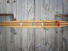 Repurposed Water Ski Towel Rack for Beach or Boat House - Salvaged Boat Cleat Hooks.