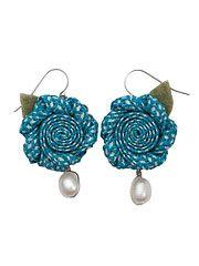 Blue Woven Flower Earrings