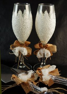 Wedding Cake Server Set With Matching Champagne Flutes Rustic These Are Hand Painted Of 2