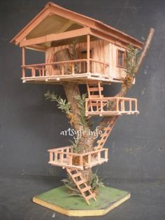 Love!!! Can't wait to try! popsicle stick tree house | Creations & Collections