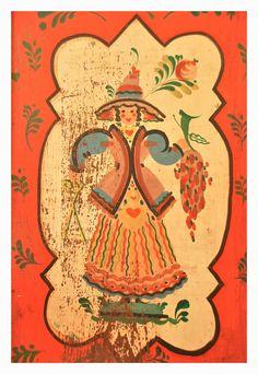 Folk art panels from cabinet by artist Peter Hunt!