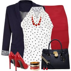 I like the top, blazer & purse, but I would wear a black pencil skirt instead, black rounded/open-toe heels instead & I wouldn't wear any of the accessories either