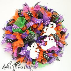 Halloween Cute Colorful Ghosts Wreath, 2145 - Fall Wreath, Halloween Deco Mesh Wreath, Fall Decor, Orange Black Wreath on Etsy, $93.00