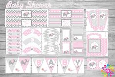 Baby Elephant!! PRINTABLE PARTY SET!, perfect for your birthday parties or baby shower, easy print. These files are in thePDF format allowing you to access them quickly and easily, just open the file and print on your favorite paper. In your SET, you will find the instructions. If you want this editable custom design ... contact us…