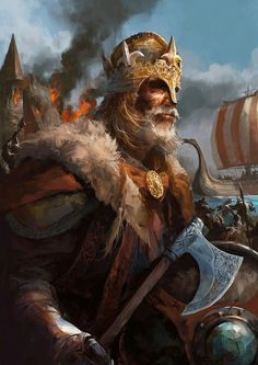 Artwork of a Viking king. This is probably depicting Rollo, The Viking duke of…