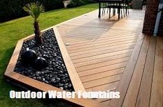 Ideas To Make Your Own Outdoor Water Fountains Outdoor Water Fountains -DIY Landscape Design & Backy Landscape Design, Garden Design, Patio Deck Designs, Diy Deck, Backyard Patio, Backyard Ideas, Patio Ideas, Cheap Deck Ideas, Small Backyard Decks