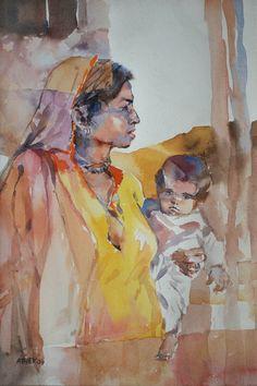 Woman Water color on paper by Ather Jamal Pakistani Artist. Size: 14 x 21 Woman Painting, Painting Art, History Of Pakistan, Artist Art, Homeland, Pakistani, Size 14, Art Gallery, Plant