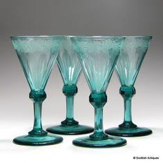 Set of Four Engraved Teal Regency Wine Glasses c1830