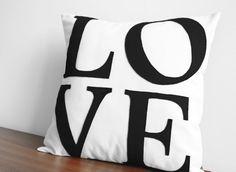 Serif LOVE Pillow  Custom Color  You Choose by HoneyPieDesign