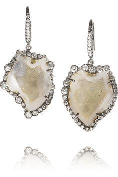 Kimberly McDonald | 18-karat blackened white gold diamond and geode earrings | #earrings #diamond