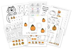 Pumpkin Preschool Coloring Pages {Coloring Pages} If you have a few last minute things on your Halloween to do list and are looking for something fun to keep… Fall Preschool Activities, Preschool Printables, Halloween Activities, Free Printables, Halloween Worksheets, Free Preschool, Preschool Homework, Preschool Prep, Halloween Printable