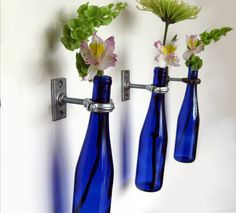 3 Cobalt Blue Wine Bottle Wall Flower Vases -  Wall Vase - Hanging Vase - gift idea for mom - Spring Flowers