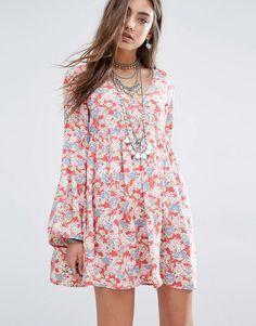 Denim & Supply By Ralph Lauren Deep V Floral Tea Dress With Bell Sleeve