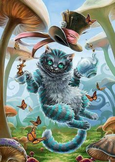 "Alice in Wonderland's Cheshire Cat… I want it kind of wrapped around my bicep with ""We're all crazy here""."