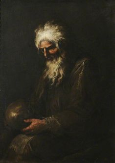 A Hermit Contemplating a Skull, by Salvator Rosa