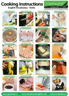 English Vocabulary about cooking instructions and what they mean - Vocabulario para cocinar en inglés English Tips, English Fun, English Study, English Class, English Lessons, Learn English, American English, Food Vocabulary, Grammar And Vocabulary