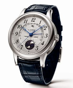 L. Leroy Osmior Retrograde Perpetual Calendar with moon phases indication, white gold case and engine turned dial | Time and Watches