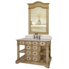 Anchor your master bath in elegant countryside appeal with the Belle Floret Vanity, showcasing a beautifully distressed finish and antiqued brass hardware.