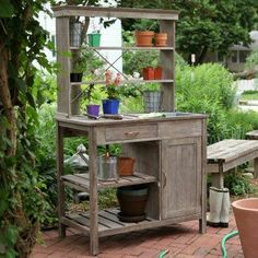 Could make this potting bench with an old student desk, a bookcase or hutch top, and some random leftover lumber.