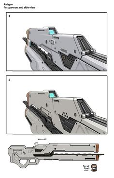 Halo 4 Early Railgun concept by Josh Kao on ArtStation. Sci Fi Weapons, Weapon Concept Art, Fantasy Weapons, Weapons Guns, Zoids, 343 Industries, Future Weapons, Cool Guns, Awesome Guns
