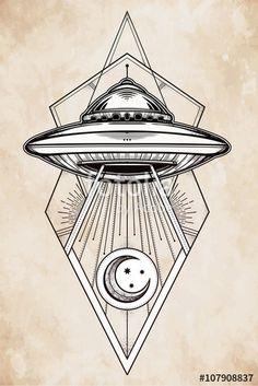 Vector: Alien geometric UFO Background. Vector.