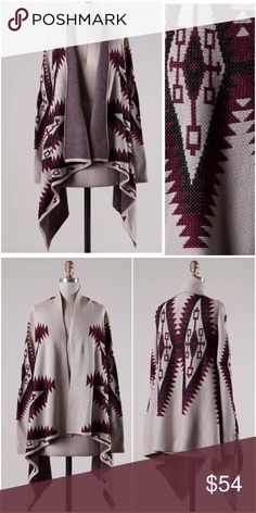 NWT Burgundy Tribal Cardigan NWT Burgundy Aztec/Tribal Cardigan. Beautiful Aztec print in burgundy and black patterns. Detailing along lapel, can be worn folded over or unfolded (as pictured). Trendy asymmetrical hem. Long sleeved, medium weight cardigan. 55% Cotton/45% Acrylic, very soft and comfortable! Comes in S/M (sizes 0-6), or M/L (8-12).❗️PLEASE SELECT S/M or M/L when purchasing, S,M,L only for searching purposes❗️No Trades and No PaypalPrice is firm but can discount in a bundle…