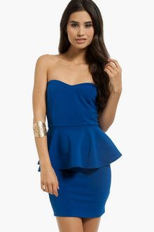 Sweetheart Peplum Dress in Royal Blue