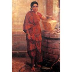 Mysore lady by the well (Ravi Varma Print)