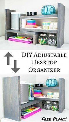This desktop organizer has multiple configurations, making it easy to find the perfect one for your space! Get the free woodworking plans! | easy woodworking project | desk organizer | kitchen shelf | spice storage | spice shelf | office supply storage | display shelf #woodworkingplans #WoodenSignsCountry