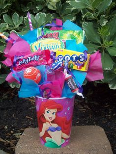 Little Mermaid Kids Candy Party Favors Made to Order on etsy. (do w/ cups & candy from walmart)