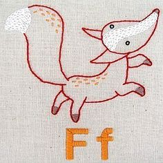 fox alphabet embroidery by Penguin & Fish: http://www.etsy.com/shop/penguinandfish