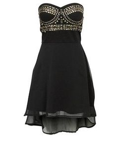 Black Studded Strapless Dress   I NEED THISSSSS