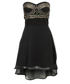 Black Studded Strapless Dress