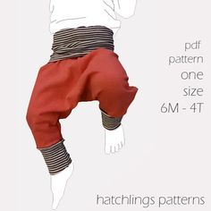 Pirate Pants sewing PDF pants pattern 6 by HatchlingsPatterns