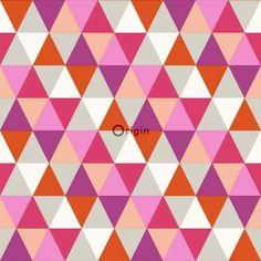 347201 lijmdruk vliesbehang abstract driehoek dessin roze en oranje