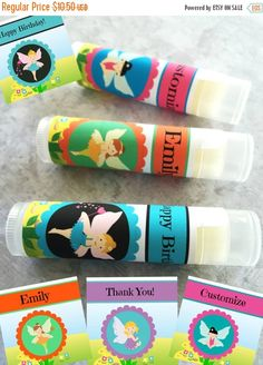 "This listing is for a set of 5 Custom Fairy Party all natural lip balms.  ***This item can be personalized with text of your choice e.g. ""Happy Birthday,"" ""Names,"" ""Thank Y... #etsy #trending #children #birthday"