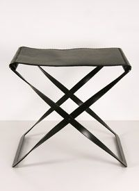 """Iron & Leather Folding Stool Iron with dark brown leather. Collapsible.   23"""" W x 18 1/2"""" D x 19 1/2"""" H  $339.00"""