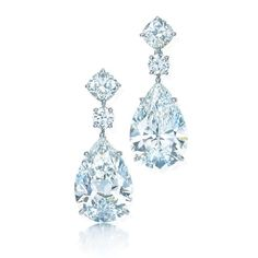 The world's most venerated purveyor of fine diamonds, Tiffany epitomizes style and elegance with stones of unassailable quality, cut and clarity. Earrings of pear-shaped diamonds in platinum.