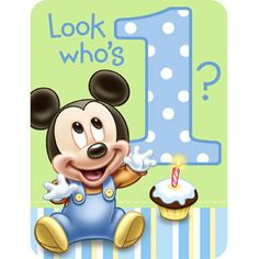 Mickey 1st Birthday Invitations