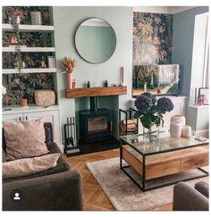 Living Room Decor Eclectic, Cottage Living Rooms, Living Room Green, New Living Room, Small Living Rooms, Living Room Interior, Living Room Designs, Condo Living, Log Burner Living Room