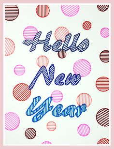 Hello New Year (New Year illustration in markers by Lau Sheow Tong 劉紹忠)