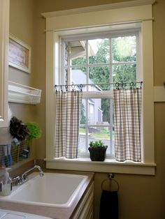 dishtowels for the cafe style curtains. We sell so many cute styles www.missouri… dishtowels for the cafe style curtains. We sell so many cute styles [. Bathroom Window Curtains, Bathroom Window Treatments, Bathroom Windows, Laundry Room Curtains, Cafe Curtains Kitchen, Privacy Curtains, Green Curtains, Curtains Inside Window Frame, Shower Curtains