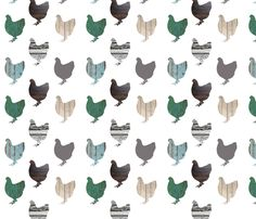 Wooden Chickens Large fabric by janinez on Spoonflower - custom fabric