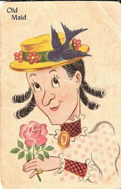 *Vintage Old Maid Card and look how cute she is I always remembered her as not cute.......how old is Grammy?