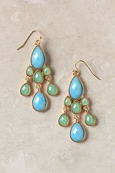 Muddled Mint Dangles Cool down a sunny tank with these handmade dangles in refreshing shades of blue and green  #anthropologie