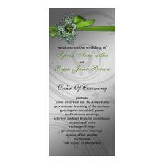 FAUX ribbon green Wedding program Personalized Rack Card