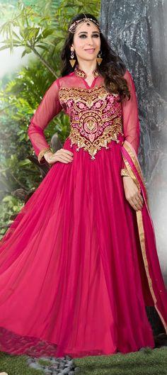 435804: Pink and Majenta color family semi-stiched Anarkali Suits, Bollywood Salwar Kameez .